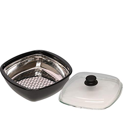 Riess 0114-022 Classic-Black Steamin Pan with Lid, Diameter-28 cm Brown and White