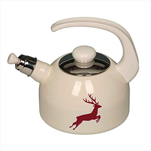 Riess 0543-071 Country-Hirschrot Water Kettle with Lid, Diameter-18 cm Off White