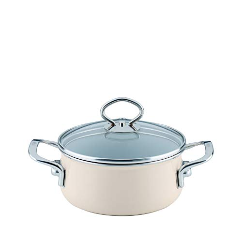 Riess  0707-011 Nouvelle-Avorio Top 3000 Extra Strong Casserole with Glass Lid, Diameter-16 cm Muted