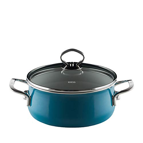 Riess  0709-010 Nouvelle-Aquamarine Top 3000 Extra Strong Casserole with Glass Lid, Diameter-20 cm / 2 Litre Cadet Blue