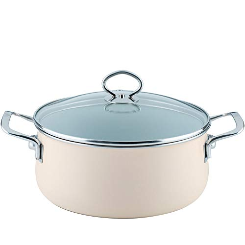 Riess  0711-011 Nouvelle-Avorio Top 3000 Extra Strong Casserole with Glass Lid, Diameter-24 cm Muted