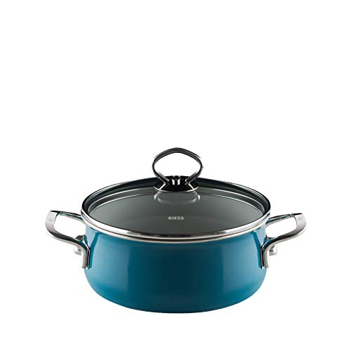 Riess  Nouvelle - Aquamarine Top 3000 Extra Strong Casserole with Glass Lid, Diameter-16 cm /1 Litre Cadet Blue