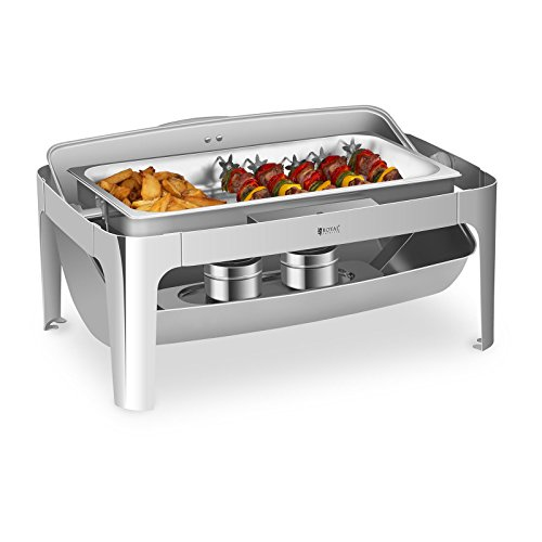 Royal Catering Roll Top Chafing Dish Food Warmer 53 cm GN 1/1 RCCD-RT9L (2 Secure Burners, Capacity, Water Container: 13 l, Capacity, Food Container: 7.5 l, Economical, no Electricity)