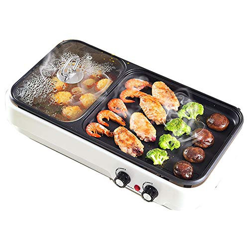 SIER Multi-function barbecue dish one-pot home smoke-free non-stick electric baking pan indoor multi-purpose barbecue electric hot pot barbecue,White