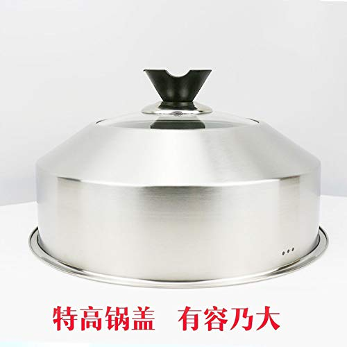 SLXTDGMZ Deepen thickened steamed cover high mushroom stainless steel composite glass jar lid visible pot vertical kitchen tool