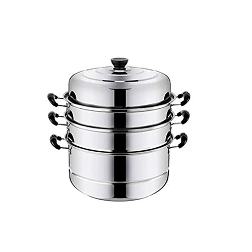 SMXGF Stainless Steel Steamer, Three-layer 26cm Multi-layer Steamer, 30CM Double Bottom Steamer, Kitchen Induction Cooker Universal Pot, Four Layers 32CM Silver Kitchen supplies