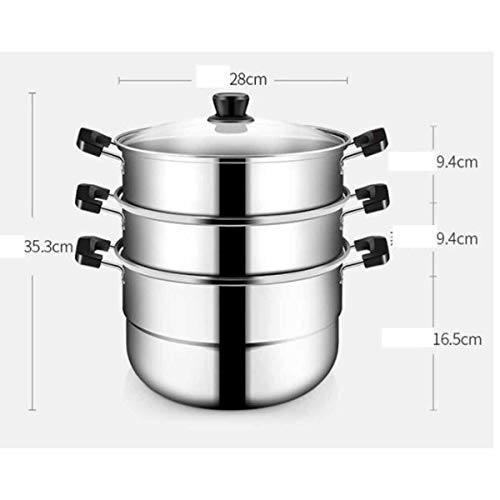 SMXGF Steamer, 28 cm stainless steel three-layer steamer double bottom can be steamed and boiled, induction cooker gas stove gas stove is universal Kitchen supplies (Color : Silver, Size : 28Cm)