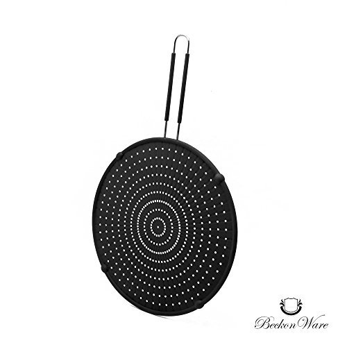 Splatter Screen -Multi Use 4 In 1 Silicone Pan Cover,n Strainer, Cooling Mat, Drain Board, 33 CM, 99% Oil Splash Guard For Cooking & Frying, Stops Hot Oil Splash, Black by Beckon Ware