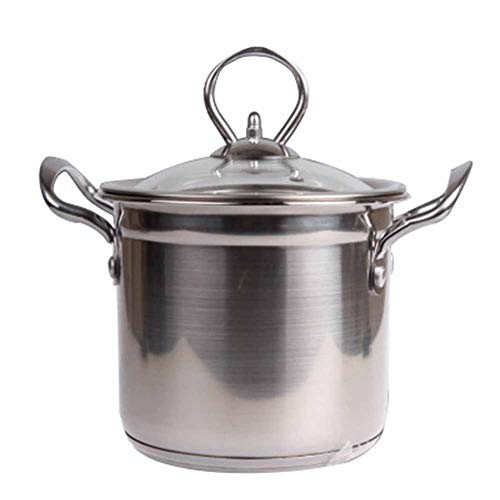 Stainless Steel 2-Tier Steamer Pan Stock Pot With Glass Lid Multi-Function Soup Pot Cooking Pot