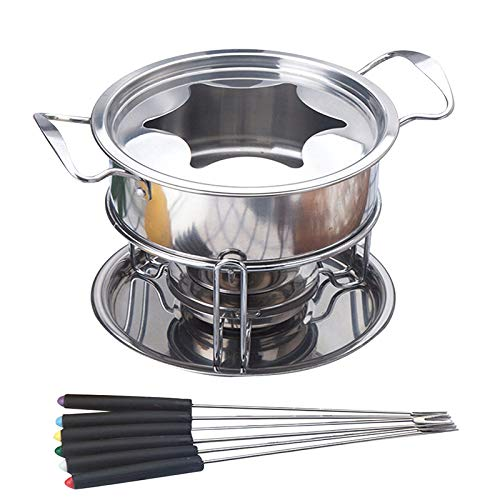 Stainless Steel Chocolate Hot Pot, Home Chocolate Hot Pot Stainless Steel Body Safe And Durable 6 Steel Forks Multi-Person Buffet Cheese Pot