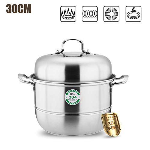 Stainless Steel Steamer Cooking Pot Food Steamer,3 Tier Stainless Steel Induction Hob Steamer with Glass Lid Cookware Pot & Pan Set-Twolayers-32CM