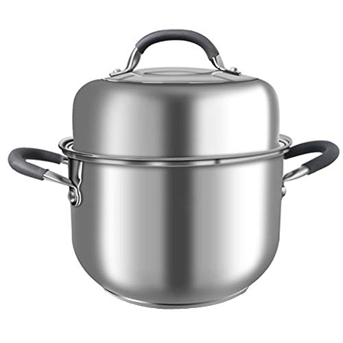 Stainless Steel Steamer,Food Steamer Pan,304 Stainless Steel,Single Layer Soup Pot 24cm,stovegas Cooker Universal