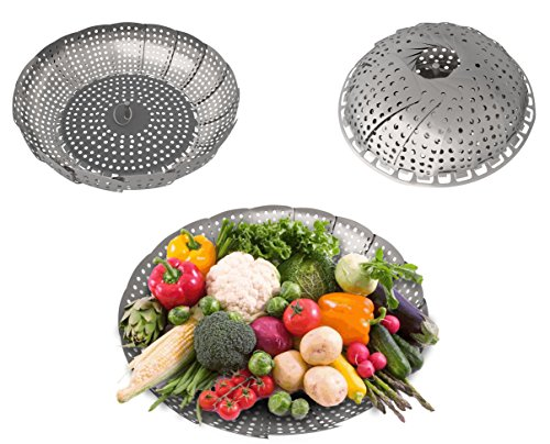 Stainless Steel Vegetable Steamer Baskets for Stove Top Pots and Other Electronic Pressure Cookers or Pots. Now, Cook Your Vegetables in A Healthy Way by Steaming -