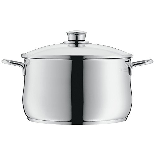 WMF cookware Ø 24 cm approx. 6,5l Diadem Plus pouring rim glass lid Cromargan stainless steel brushed suitable for all stove tops including induction dishwasher-safe
