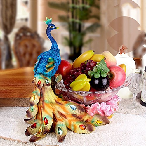 XJRHB European Glass Fruit Bowl Peacock Decoration Living Room Home Decoration Furnishings (Color : B)