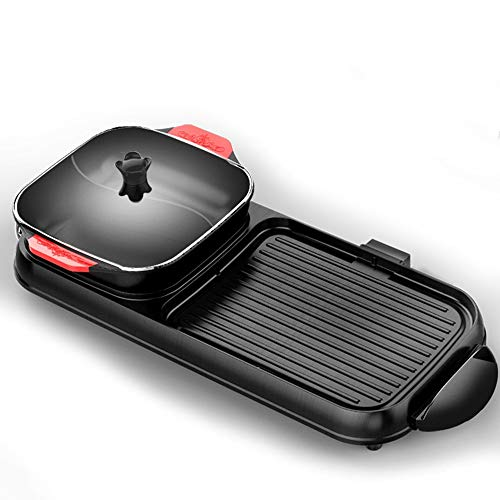YBWEN Electric Barbecue Pot Grill And Griddle Household Electric Baking Pan Versatile Pot Can Be Separated Double Temperature Control Barbecue Pot BBQ/Hot Pot (Color : Black, Size : 8200)