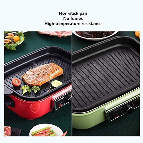 YBWEN Electric Barbecue Pot Multi-function Cooking Pot Electric Barbecue Meat Boiler Integrated Household Non-Stick Cooking Surfaces Flat Grill BBQ/Hot Pot (Color : Pink, Size : 30x20x17cm)