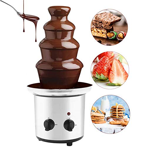 4-Layer Chocolate Fondue Fountain, Professional Waterfall Melting Machine Stainless Steel Self-Heater, Suitable for Business And Family Birthday Christmas Eve