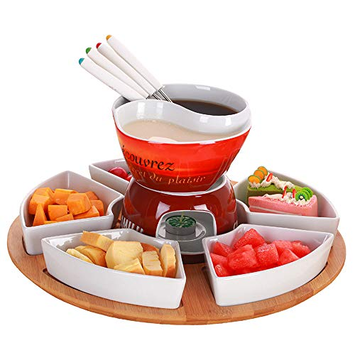 Ceramic Chocolate Fondue Hot Pot Set Ice Cream Cheese with 4 stainless steel forks and ceramic base Grill Korean Hot Pot Tableware