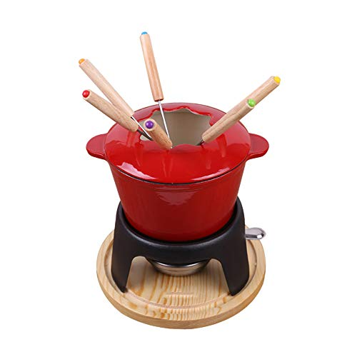 Ceramic Fondue Cast Iron Chocolate Cheese Free Stainless Steel Forks Pot Single Pot Enamel Pot Alcohol Stove Forks Kitchen Modern Birthday Present Gift Xmas Christmas Wedding Party