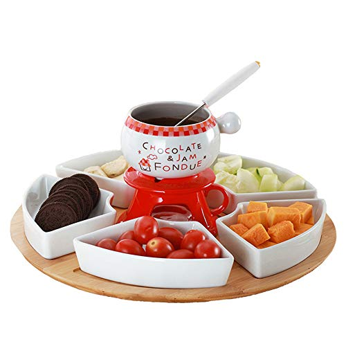 Chocolate Fondue Set with 4 Stainless Steel Forks and 4 Sector Plates 4 Smokeless Candles Cheese Fondue Ceramic Home Party Restaurant Stove
