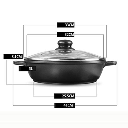 CZWYF Non-stick Pan Shallow Soup Pot Induction Cooker Fondue Soup Pot With Lid Saucepan (Size : 32cm)