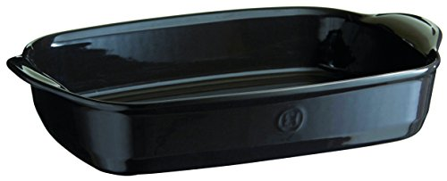 Emile Henry France HR Ovenware Ultime Rect. Baking Dish 16.5 X 10.6 Charcoal, Ceramic, String, 42 x 27 x 9 cm