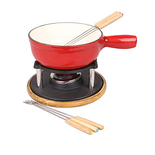 Fondue Cast enamel iron Pot Send Six Fork Wood Tray Burner Chocolate or Cheese Porcelain Sets Warmer Fountain Fondue and Chocolate Melting Pot Set for Party Hot Red
