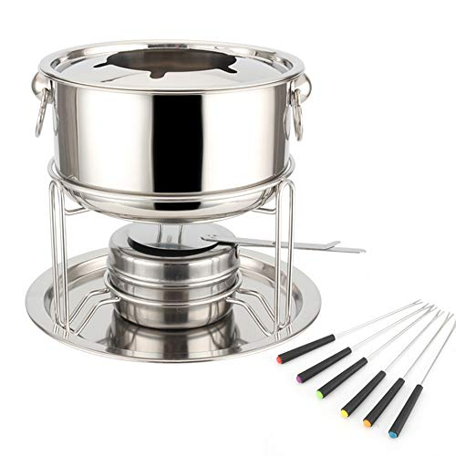 Fondue Chocolate Cheese Stainless Steel Small Hot Pot Classic Cheese Pot Liquid with 6 Stainless-Steel Forks The Prefect Kitchen Accessory