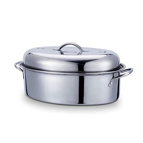 Large Fish Poacher Steamer Turkey, Duck Pot Pan Stainless Steel Oval, Thickened Compound Bottom Fast Heating Universal for Induction Cooker, Stove Multifunction Kitchen Gift