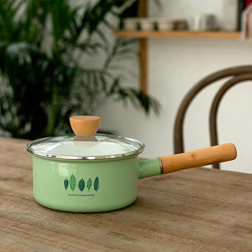LEIXNDPLBO Enameled ceramic Milk cheese Pot Cookware kitchen cooking tool cooker saucepan food bowl hotpot noodle Enamel soup pot Porcelain,18CM milk pot