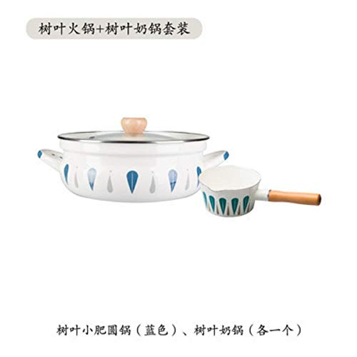 LEIXNDPLBO Japanese General Enamel Pot small round chafing dish milk pot set household stew pot porcelain enamel soup rice pan,4