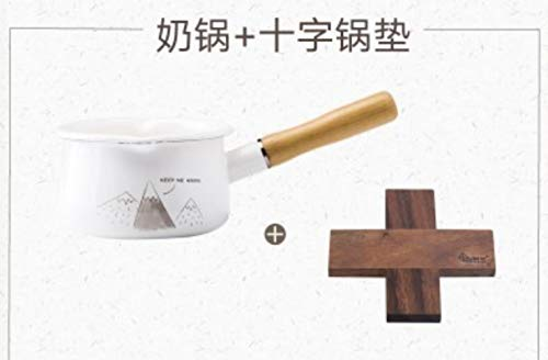 LEIXNDPLBO Japanese style General Enamel Pot thickened household porcelain enamel milk pot single wood handle baby food cooker instant noodle small pot pan,3