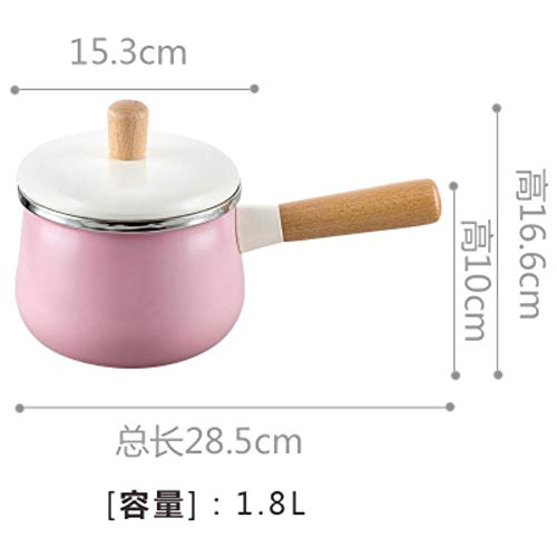 LEIXNDPLBO Northern Europ enamel wood handle milk pot soup saucepan thickened noodle general home Japanese cooker stew manual pan General Enamel Pot,1
