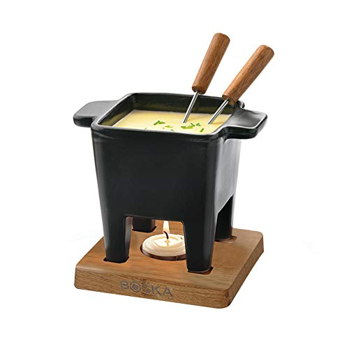 LJW Ceramics Ceramic Fondue Fondue Bowl Oak Tray Stainless Fuel Cartridge Chocolate Cheese Household 340ML