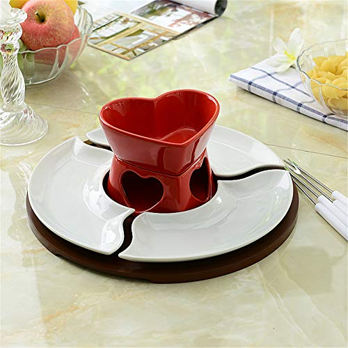 LJW Heart-Shaped Ceramic Fondue Fondue Bowl Ceramics Glaze Chocolate Ice Cream Cheese 11.5cmx13.5cm,Red