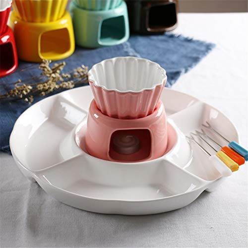 LJW Solid Color Ceramics Ceramic Fondue Fondue Bowl Fruit Tray Chocolate Ice Cream Cheese Kitchen Household,Pink