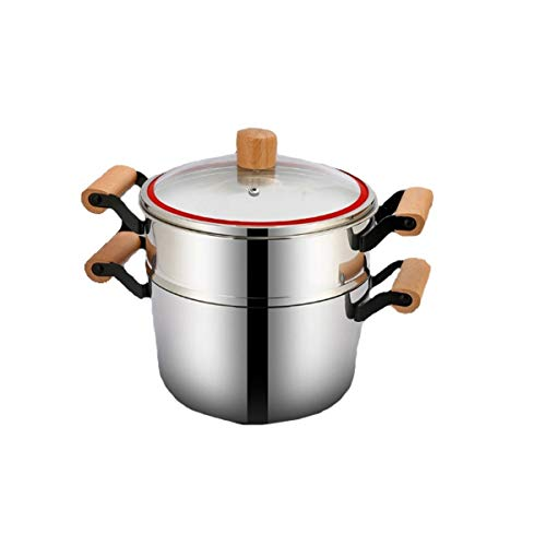 SMXGF 304 Stainless Steel Steamer, Household Single Layer With Lid, Gas Stove Induction Cooker Steamed Buns Buns Single Layer, Kitchen supplies (Color : Silver, Size : 22cm)