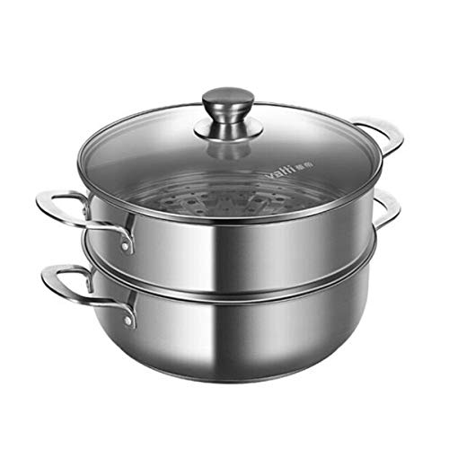 SMXGF Steamer Two-layer 26cm Double-layer Steamer 304 Stainless Steel Hot Pot Pot Multi-function Household Soup Steamer Pot Hot Pot With Steamer Induction Cooker Gas Universal Pot Silver 26cm/28cm Kit