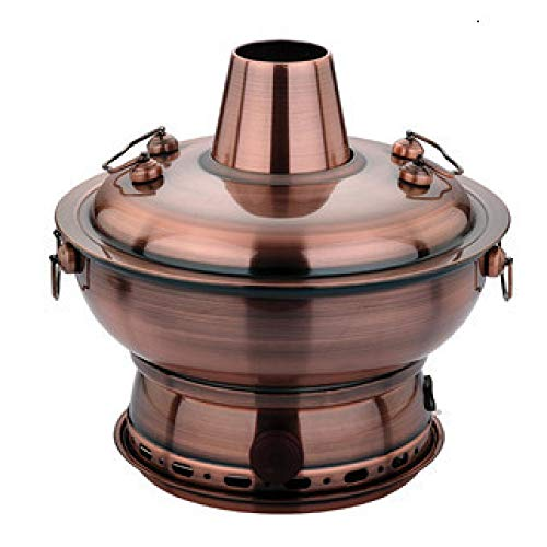 ZATPFSDG 30 cm imitation copper stainless steel thick electric carbon fiber dual-use split traditional hot pot household