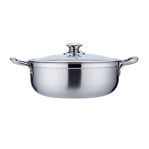 ZATPFSDG Stainless steel thickened double flavor hot pot with lid glass lid hot pot