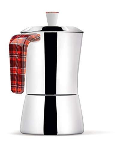 Giannini 6647 Tua Coffee Maker 6/3 Cups Scottish Handle and knob, Non-Toxic Multicolor
