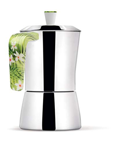 Giannini 6657 Tua Coffee Maker 6/3 Cups Handle and Flowers knob, Non-Toxic, Multicolor