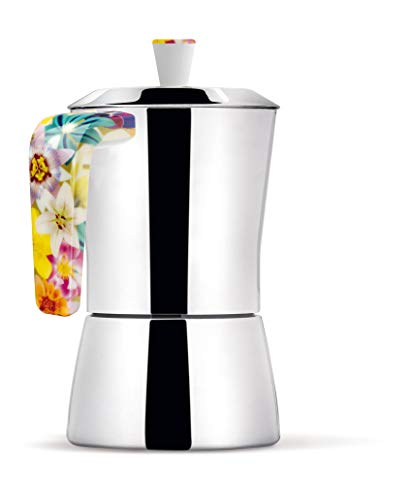 Giannini 6658 Tua Coffee Maker 6/3 Cups Handle and knob Bouquet, Non-Toxic, Multicolor