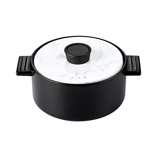 Casserole Dish Casserole Casserole Dish with Lid for Oven Pyrex Cast Iron Casserole Dishes with Lids,Soup High Temperature Resistant Ceramic Saucepan Soup Pot Black Marble Cover-4.0L