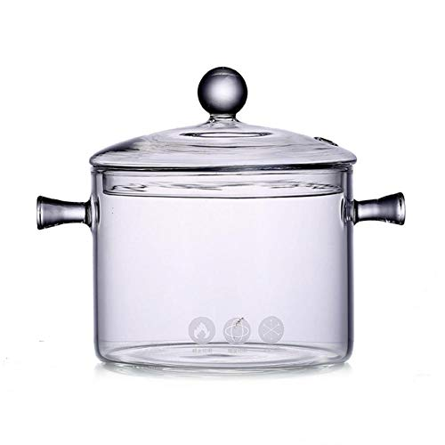 Transparent Glass Stewing Pot Heated High Borosilicate Glass Bowl Cooker with Handle 1350 ml Glass Bowl with Cover Glass Instant Noodle Bowl for Kitchen Table Refrigerator
